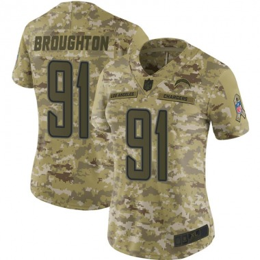Women's Nike Los Angeles Chargers Cortez Broughton 2018 Salute to Service Jersey - Camo Limited
